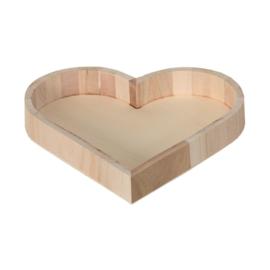Dienblad van hout in Hartvorm - 22 cm