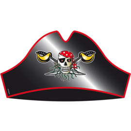 Piraten Steek / Piraten hoed van karton | 8 st | 36 cm
