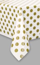 Tafelkleed Dots - Wit/Goud- 137 x 274 cm