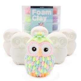 Knutselpakket Kinderfeestje - 6 x Glitter Foam Clay Spaarpot Uil