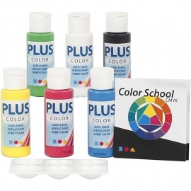 Plus Color Acrylverf School | 6 primaire kleuren | 60 of 250 ml