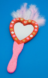 Knutselpakket Kinderfeestje - 6 x Houten Glitter Handspiegel Hart