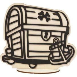 Schatkist van hout met standaard - 16 cm