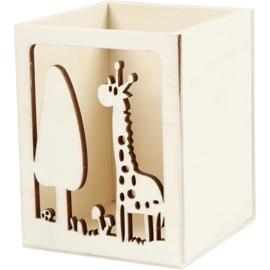 Houten Pennenbakje Giraf - 10 cm