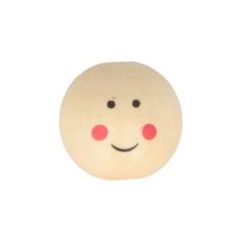 Houten kralen met gezichtje | 25 mm | 12 st