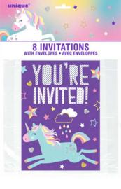 Eenhoorn Happy Birthday - 8 uitnodigingen incl. envelop
