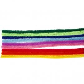 Chenille Draad in 10 kleuren - 9 mm - lengte 30 cm - 25 st
