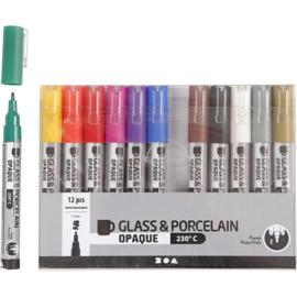 Glas- en Porseleinstiften | 1-2 mm | dekkend | 12 st