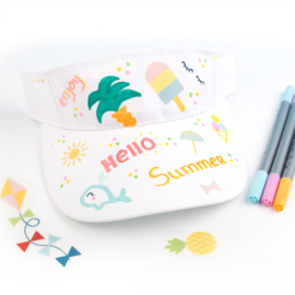 Knutselidee - Zonneklepjes versieren met textielstiften en Rub-on stickers