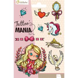 Prinsessen Tattoo - 1 vel - 9 afbeeldingen