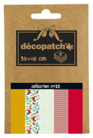 Decopatch Pocket nr 23 | 5 vellen decoupage papier van 30 x 40 cm | Thema Dino