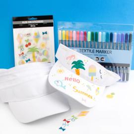 Knutselpakket Kinderfeestje - 6 x Zonneklep versieren met textielstiften