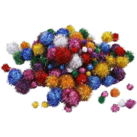 Glitter PomPoms - 15-40 mm - ca. 75 st