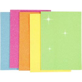 Eva Foam Glitter Vellen - Zelfklevend - 5 kleuren