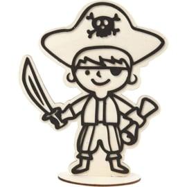 Piraat Schatkaart van hout met standaard - 18 cm