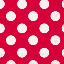 Servetten Dots - Rood - 16 st