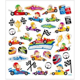 Stickers thema Racewagens - 15 x 16,5 cm