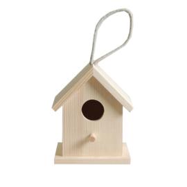 Houten Vogelhuisje met ophanglus - 13 cm