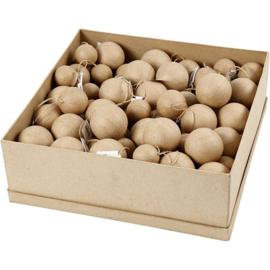 Kerstballen van papier-mache met ophanglust - 4-5-6 cm -105 st