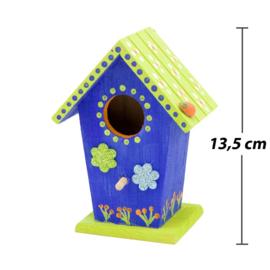 Knutselpakket Kinderfeestje - 6 x Houten Vogelhuisjes versieren
