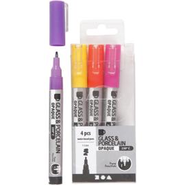 Glas- en Porseleinstiften | 1-2 mm | dekkend | Geel, rood, roze en paars