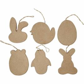 6 Paasfiguren van Papier-mache - 10 cm