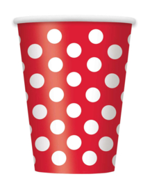 Beker Dots - Rood - 6 st
