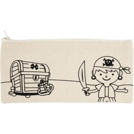 Etui met afbeelding van Piraat - 21 x 9 cm