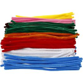 Chenille Draad in 10 kleuren - 9 mm - lengte 30 cm - 200 st