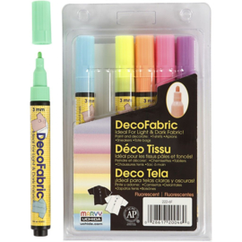 Deco Textielstiften Neon - 6 st - lijndikte 3 mm - Ook voor donkere stof