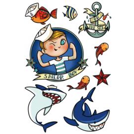 Zeemannen Tattoo - 1 vel - 9 afbeeldingen
