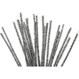 Chenilledraad Zilver - 6 mm - lengte 30 cm - 24 st