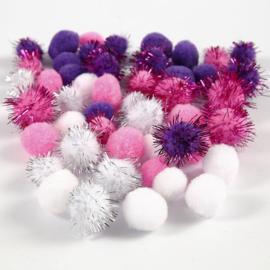 Kleine PomPoms - paars/wit/roze - 15/20 mm - 48 st