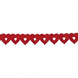 Guirlande van papieren Hartjes | rood | 6 m