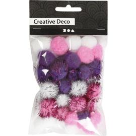 Kleine PomPoms   paars/wit/roze   15-20 mm   48 st