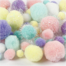 PomPoms in Pastel kleuren met Glitters | 15-40 mm