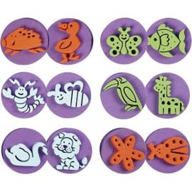 Dieren Stempels van Foam - 7,5 cm - 6 st - 12 motieven