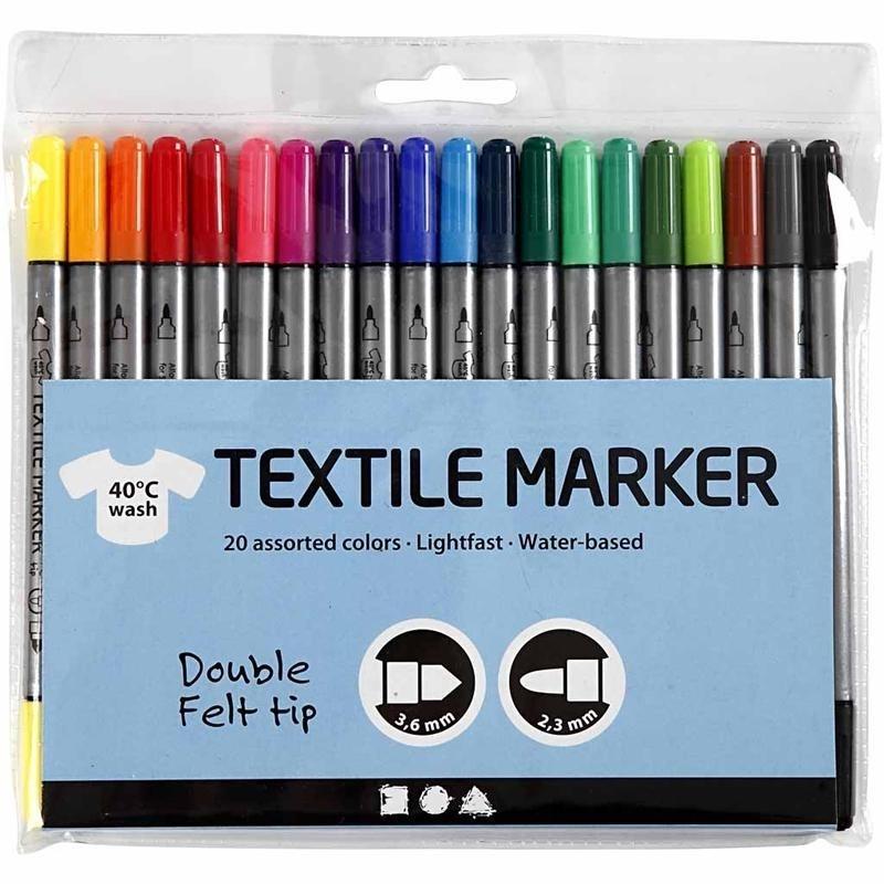 20 Textielstiften met dubbele punt - lijndikte 2,3 en 3,6 mm