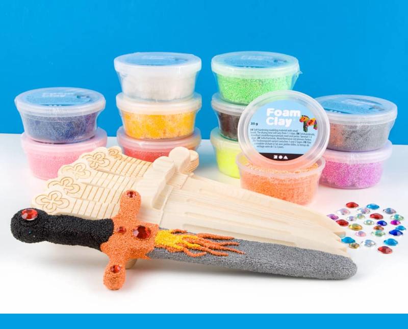 Knutselpakket Kinderfeestje - Mini zwaarden versieren met Foam Clay