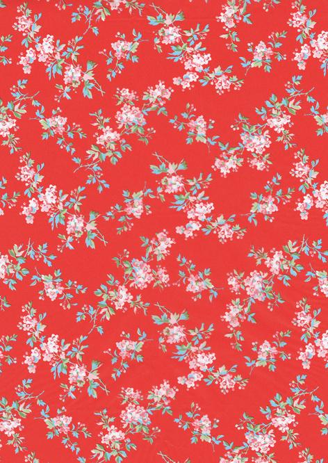 Decoupage papier bloemen rood   30 x 40 cm   FDA658