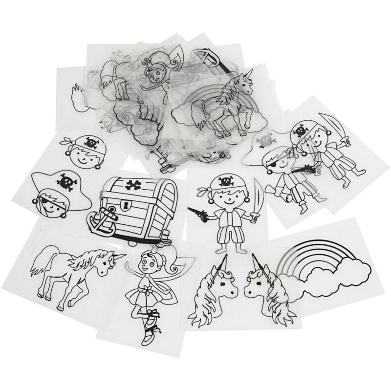 Krimpfolie met afbeeldingen van Piraten en Eenhoorns- 10 x 15 cm - 36 vellen