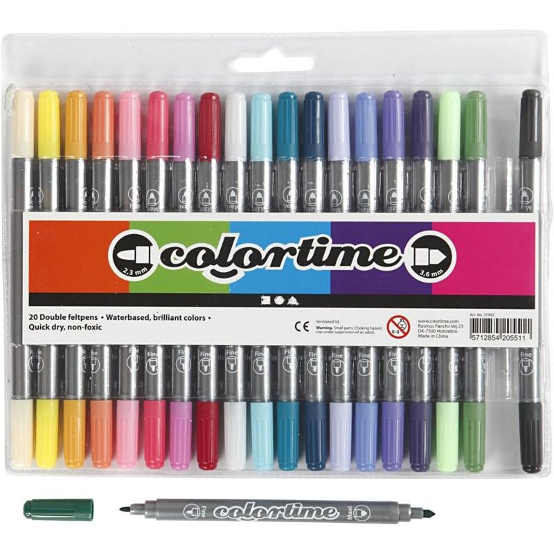 Colortime Dubbelstift 20 kleuren - Pastel
