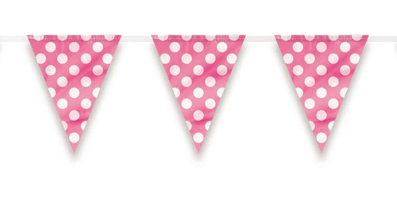 Dots vlaggenlijn roze   3,6 meter
