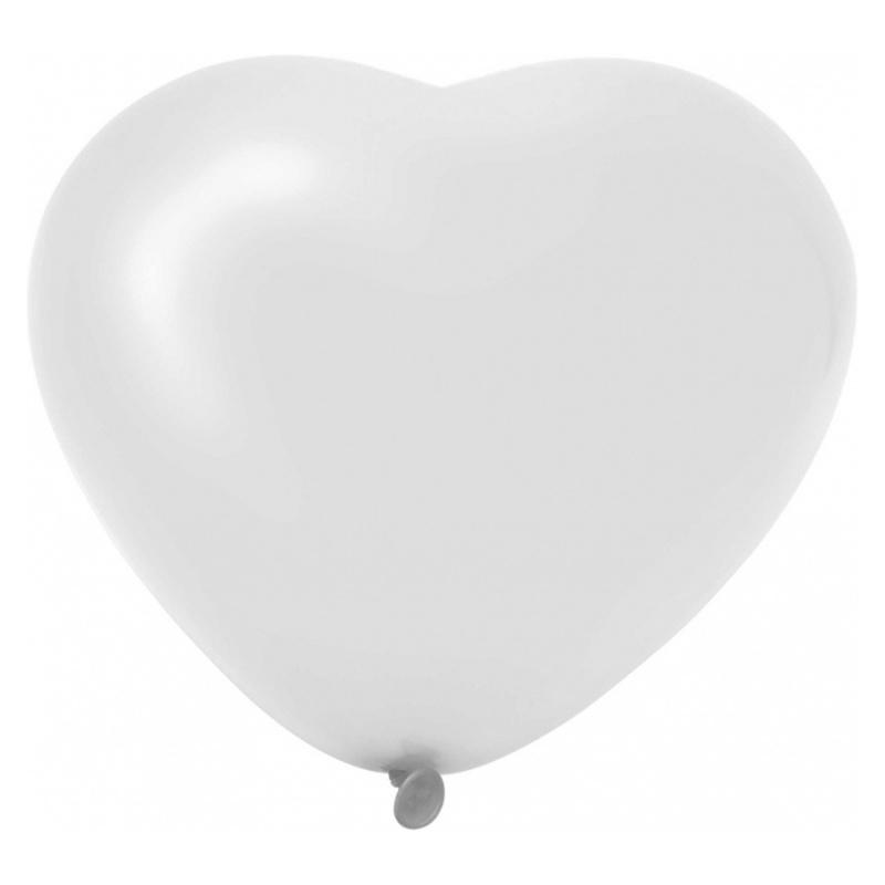 6 Hartjes Ballonnen Wit