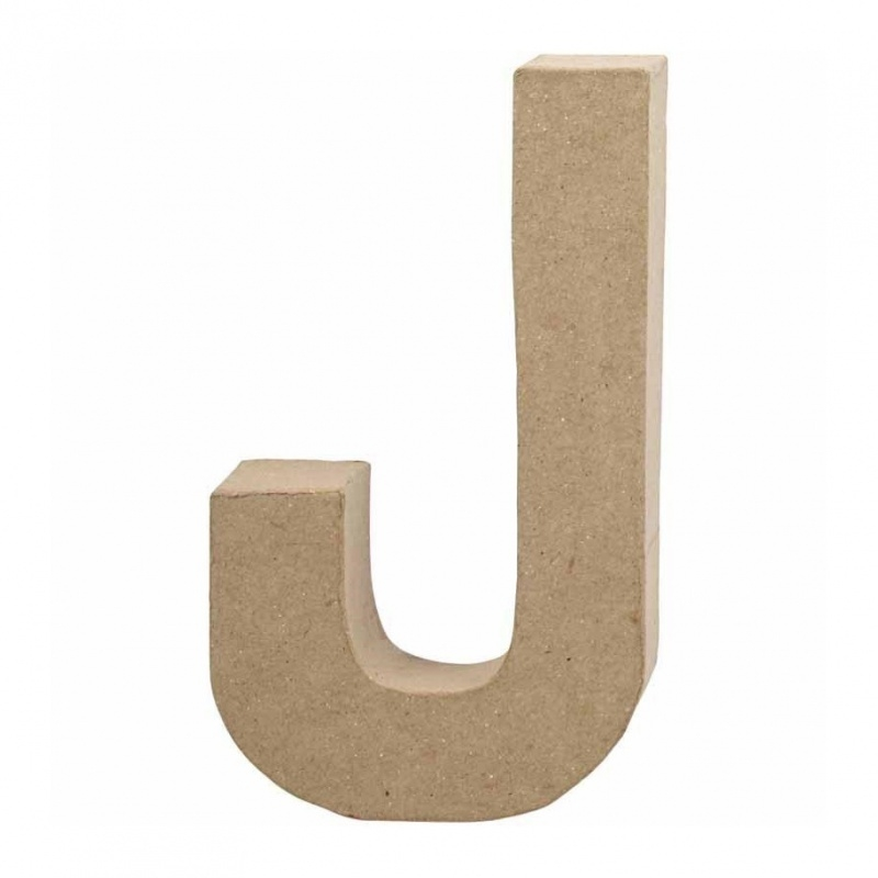 Papier-mache Letter J - 20 cm