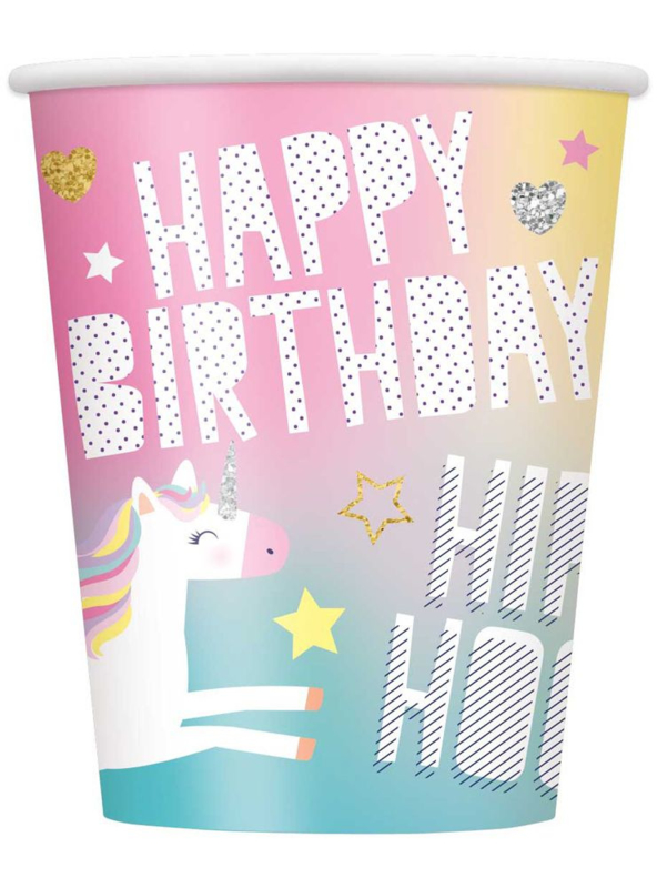 Eenhoorn Happy Birthday - 8 bekers