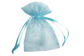 Organza zakje blauw per 10st  10x 15cm