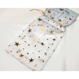 Organza wit met gouden sterrren 31x16.5cm  10st.