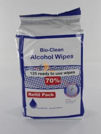 Bio-Clean alcoholgeldoekjes 18 x 18 cm. navulling 125 stuks