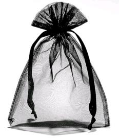 Organza zakje zwart per 10st. 10 x 15cm